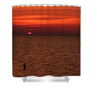 Angler In Summer Sunset Shower Curtain