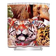 Animal Collage, Digital Art Shower Curtain