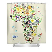 Animal Map Of Africa For Children And Kids Shower Curtain