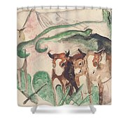 Animals In A Landscape Shower Curtain