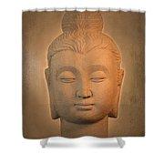 antique oil effect Buddha Gandhara. Shower Curtain