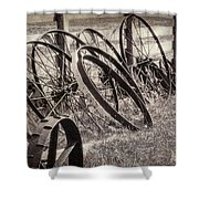 Antique Wagon Wheels I Shower Curtain