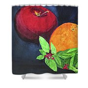 Apple, Orange And Red Basil Shower Curtain