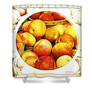 Apples In Wooden Baskets, Still Life Shower Curtain