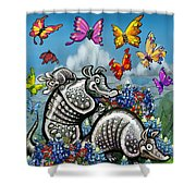 Armadillos Bluebonnets And Butterflies Shower Curtain