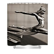 Art Deco Hood Ornament Shower Curtain