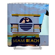 Art Deco Lifeguard Stand Shower Curtain