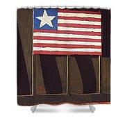 Art Homage Jasper Johns Flag Window Silver Dollar Bar Eloy Arizona 2004 Shower Curtain