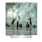 Asian Farmers Earn Rice Fields Shower Curtain