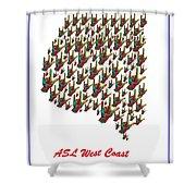 Asl West Coast Map Shower Curtain