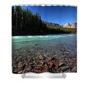 Athabasca River In Jasper National Park Shower Curtain by Mark Duffy