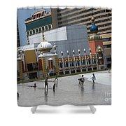 Atlantic City Hotels Board Walks Beaches Entertainment Centres Tajmahal Hotel Americas Best Photogra Shower Curtain