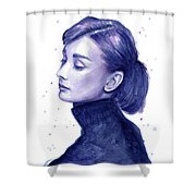 Audrey Hepburn Portrait Shower Curtain by Olga Shvartsur