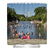 Austinites Love To Lounge In The Refreshing Waters Of Barton Springs Pool To Beat The Sizzling Texas Summer Heat Shower Curtain