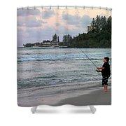 Australia - Fisherman At Greenmount Beach Shower Curtain