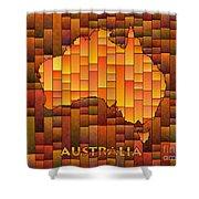 Australia Map Glasa In Orange Shower Curtain