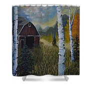 Autumn Red Barn  Shower Curtain
