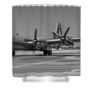B29 Superfortress Taxiing At Modesto Shower Curtain