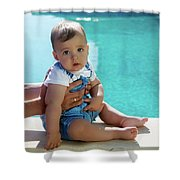 Baby Boy Sitting By The Pool Shower Curtain