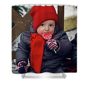 Baby In Red Hat Sits On A Bench In The Street With Candy Shower Curtain