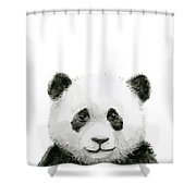 Baby Panda Watercolor Shower Curtain