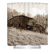 Back When Barn Sepia Shower Curtain