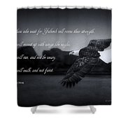 Bald Eagle In Flight With Bible Verse Shower Curtain