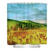 Ball-play Of The Choctaw--ball Up Shower Curtain