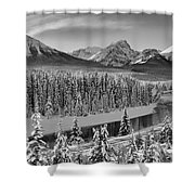 Banff Bow River Black And White Shower Curtain