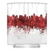 Bangkok Skyline In Watercolor Background Shower Curtain