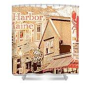 Bar Harbor Maine Shops At Night Shower Curtain