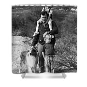 Barry Sadler With Sons And Family Collie Tucson Arizona 1971 Shower Curtain