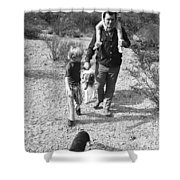 Barry Sadler With Sons Baron And Thor Taking A Stroll 1 Tucson Arizona 1971 Shower Curtain