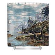 Batrachotomus Dinosaurs -3d Render Shower Curtain
