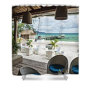 Beach Bar In Sok San Area Of Koh Rong Island Cambodia Shower Curtain