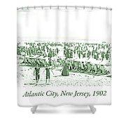 Beach, Bathers, Ocean, Atlantic City, New Jersey, 1902 Shower Curtain