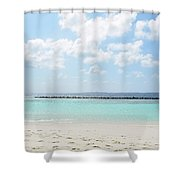Beach On An Island In The Maldives With Turquoise Water Shower Curtain