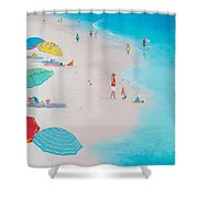 Beach Painting - One Summer Shower Curtain