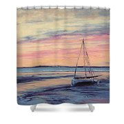 Beached At Sunset Shower Curtain