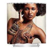 Beautiful African American Woman Wearing Jewelry Shower Curtain