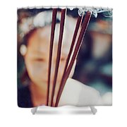Beautiful Asian Woman Holding Incense Sticks During Hindu Ceremony In Bali, Indonesia Shower Curtain