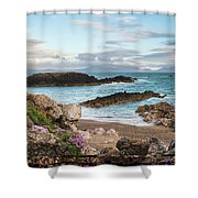 Beautiful Landscape Image Of Rocky Beach With Snowdonia Mountain Shower Curtain