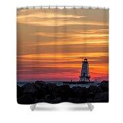 Beautiful Ludington Lighthouse Sunset Shower Curtain