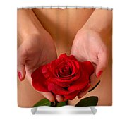 Beautiful Nude Woman Holidng Red Rose Shower Curtain