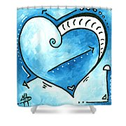 Beautiful Original Acrylic Heart Painting From The Pop Of Love Collection By Madart Shower Curtain