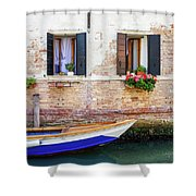 Beautiful View Of Water Street And Old Buildings In Venice, Ital Shower Curtain