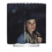 Beautiful Woman At Rainy Night Shower Curtain