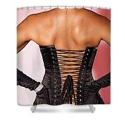 Beautiful Woman In Black Corset Shower Curtain