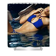 Beautiful Young Woman In Blue Bikini Shower Curtain