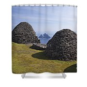 Beehive Stone Huts, Skellig Michael, County Kerry, Ireland Shower Curtain